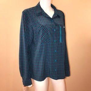 LL Bean Womens Tropicwear Shirt Blue Plaid Vented